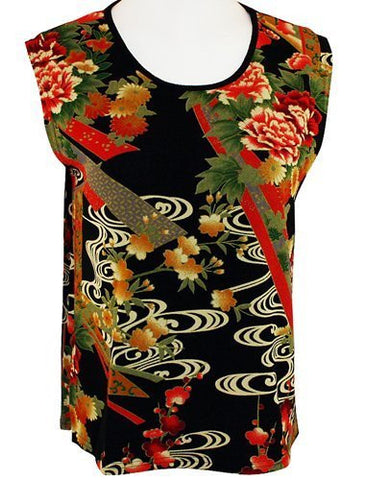 Moonlight Floral Print, Asian Themed Woman's Tank Top - Asian Flower