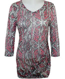 Cubism Egyptian Print, Tuck In Flair Sleeve Top, One Side Shirring