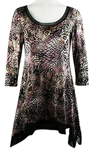 Mesmerize - Flocking Animal, Mesh Trimmed Collar & Asymmetric Hem Tunic Top