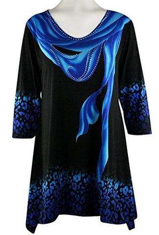Valentina Signa - Blue Drape, 3/4 Sleeve V-Neck Tunic in Rhinestone Accents
