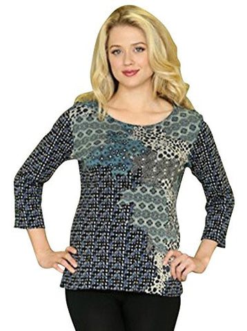 Katina Marie - Selfignition, 3/4 Sleeve Swarovski Crystal V-Neck Cotton Top