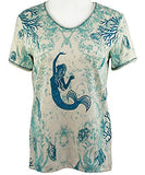 Cactus Bay Apparel - Mermaid, Short Sleeve, V-Neck, Rhinestone Cotton Top