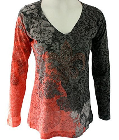 Nally & Millie, Crystal Accented, Geometric Print, Burnout Top - Crystal Fleur de Lys