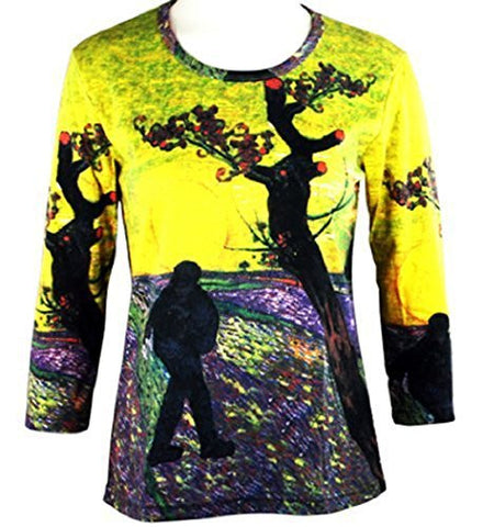 Breeke & Company Van Gogh - Sower at Dusk, 3/4 Sleeve, Printed Top