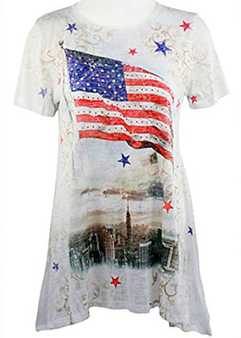 Cactus Fashion - City Flag, Short Sleeve, Scoop Neck Sharkbite Hem Burnout Top