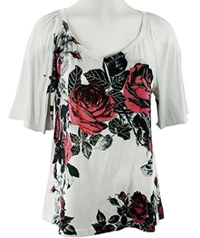 California Bloom - Twin Roses, White Top with V-Neck accented with Floral Design