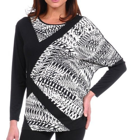 Lynn Ritchie - Dolman Sleeve Top, Black in a Geometric Print