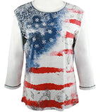 Jess & Jane - Vintage Flag, Cotton Top 3/4 Sleeve Scoop Neck Rhinestone Accents