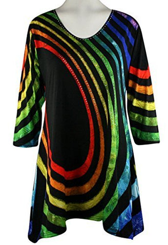 Valentina Signa - Concentric Lines, 3/4 Sleeve V-Neck Tunic Rhinestone Accents