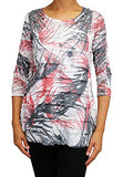 Cubism Apparel - Palms in Blur, Scoop Neck, 3/4 Sleeve, Ruffled Burnout Tunic