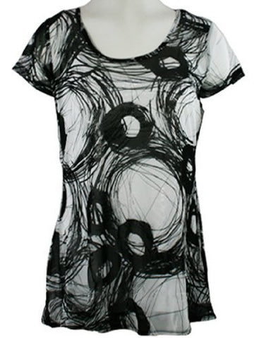 Lynn Ritchie - Black & White Swirls, Scoop Neck Geometric Print Top