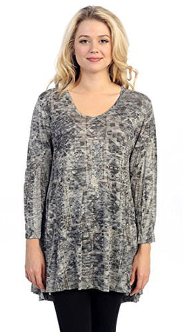Katina Marie - Artist Views, 3/4 Sleeve, Cotton Model Print Burnout Tunic Top