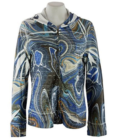 Cubism Swirls, Hoodie Geometric Eyelet Print with Burn Outs
