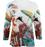 Breeke - Geisha in Cart, Scoop Neck, Hand Silk Screened 3/4 Sleeve Artistic Top