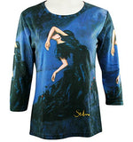 Breeke - Stilmans Dancer, Scoop Neck, Hand Silk Screened 3/4 Sleeve Artistic Top
