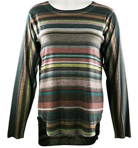 Nally & Millie Vertical Colors, Scoop Neck, Long Sleeve High-Lo Hem Knit Top