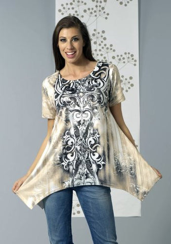 Bacci Clothing - Zaharah, Rhinestones, Sublimation, Short Sleeve Scoop Neck Top