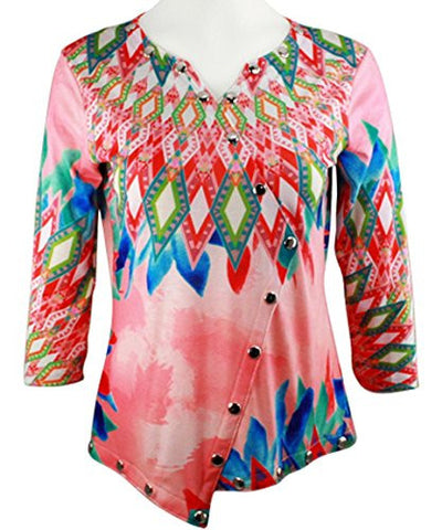 Boho Chic - Summer Daze, 3/4 Sleeve V-Neck Chrome Snap Accents Fashion Top