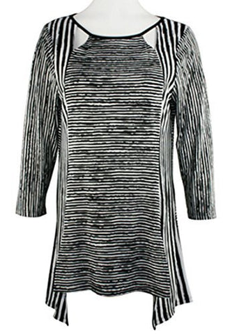 Pretty Woman - Black & White Stripes, 3/4 Sleeve Cut Scoop Neck, Tunic Top