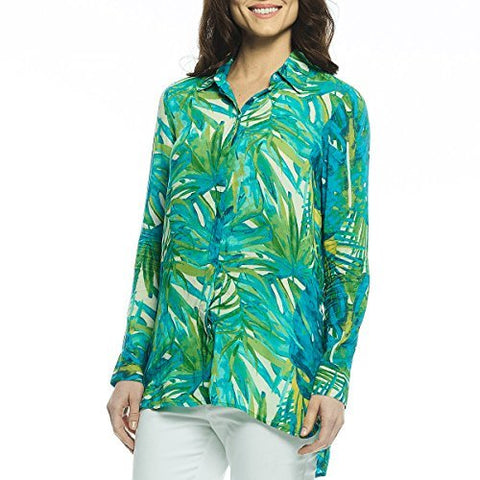 Margaritaville - Watercolor Leaf, Long Sleeve Button Front High Low Hem Blouse