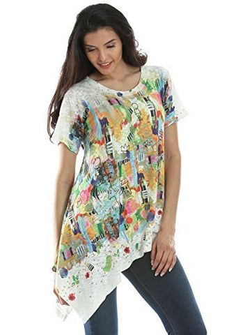 Inoah - Honey Pot, Short Sleeve Asymmetrical Hem Wearable Art colorful Print