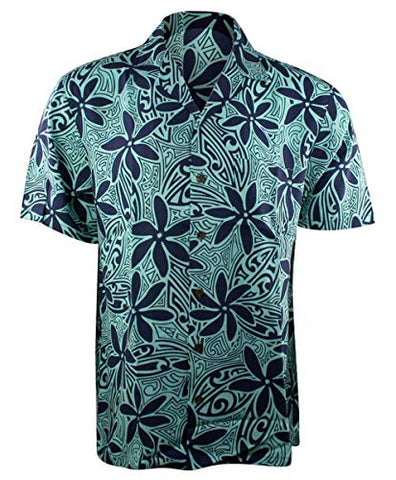 Kalaheo RJC Blue Flowers Single Pocket Classic Button Front Casual Hawaiian Shirt