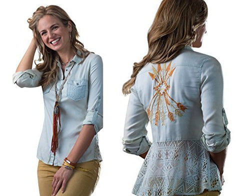 Ryan Michael Lace Back Embroidered Arrow Pattern Star Snaps Womens Western Shirt