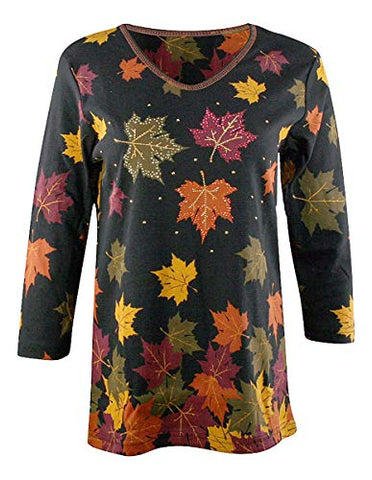 Cactus Bay - Falling Leaves, 3/4 Sleeve, V-Neck, Rhinestone Accents Cotton Top