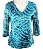 Clotheshead - Opposite Waves, 3/4 -Neck, Cutwork Print Cotton Fashion Top