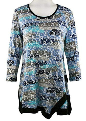 Caribe - Flowers Galore, Black Trim Bottom Hem 3/4 Sleeve Scoop Neck Swing Tunic