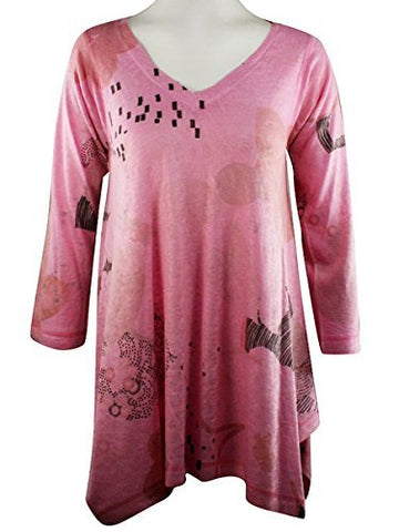 Nally & Millie Multi Print, V-Neck, Geometric Design Print Pink Tunic Top