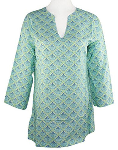 Escapada Living - Sapphire Scallop Top on a 3/4 Sleeve, V-Neck Collar Body
