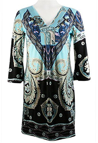 Adore Fashion Sovereign Chic, 3/4 Sleeve Tunic Mini Dress Trimmed V-neck Collar