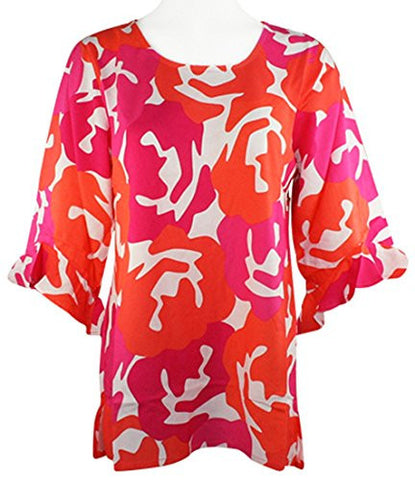 Escapada Living - Coral Garden Top with Trimmed 3/4 Sleeves & Scoop Neck Collar