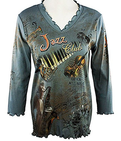 Cactus Fashion - Jazz Club, 3/4 Sleeve, V-Neck Cotton Print Rhinestone Top