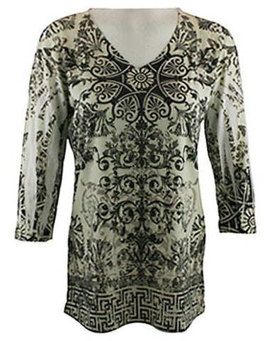 California Bloom Geometric Print Burnout Tunic accented with Rhinestones & Rivets