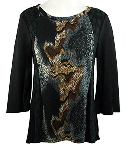 Cubism - Geo Looks, Burnout Front Panel Round Neck, 3/4 Bell Sleeve Top