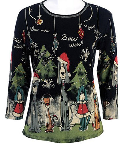 Jess & Jane - Bow Bow Christmas, Scoop Neck, Rhinestone Cotton Print Top