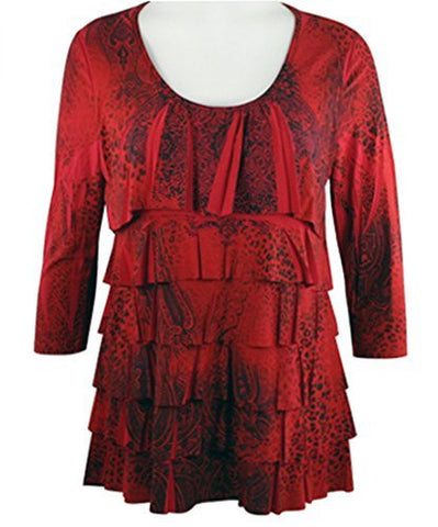 Pretty Woman - Double Ruffle, Scoop Neck, 3/4 Sleeve, Sublimation Print Red Top