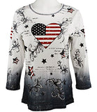 Cactus Fashion - America & Heart, 3/4 Sleeve, Scoop Neck, Cotton Print Rhinestone Top