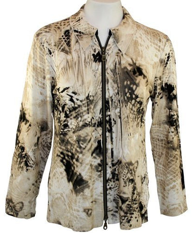 Walking Art Long Sleeve, Zippered Front, Fabric Blend Jacket - Geometric Fusion