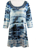 Creation - Raindrops, 3/4 Sleeve Scoop Neck Tie Dye Print Burnout Tunic Top