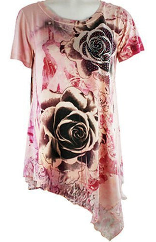 California Bloom Rose Floral Print Top Lace Trimmed Asymmetric Hem Rhinestones
