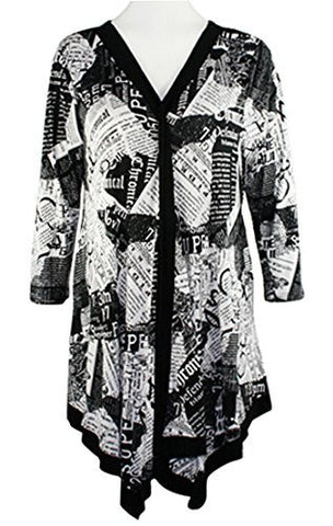 Pretty Woman Black & White Newsprint, V-Neck Tunic w/Trimmed Front, Neck & Hem