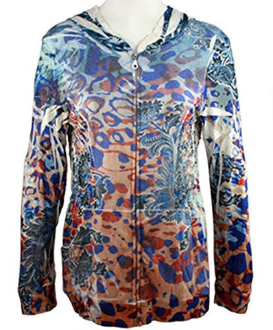 Cubism - Jungle Flair, Long Sleeve Hoodie, Multi-Colored Abstract Animal Print