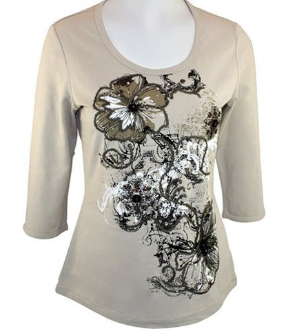 Tribal, Floral Print, Rhinestone Accented, Round Scoop Neck, Beige Top