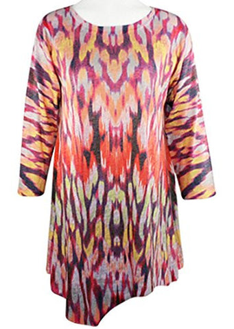 Nally & Millie - Cascades, Scoop Neck 3/4 Sleeve Geometric Print Knit Tunic