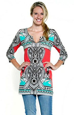 Joyous & Free - Coral Border, 3/4 Sleeve Tunic Mini Dress with Split V-Neck Collar
