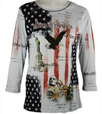 Cactus Fashion - Stars & Stripes, 3/4 Sleeve, Rhinestone Accents Cotton Print Top