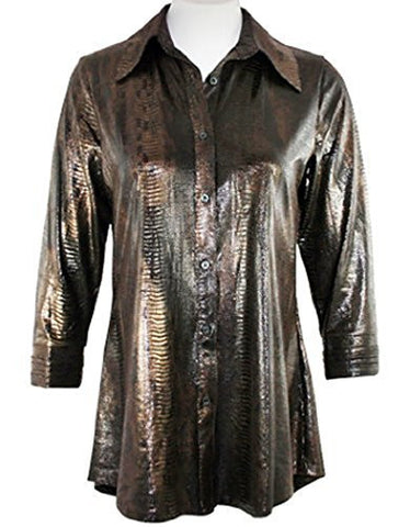 Boho Chic - Snake Skin, Long Sleeve Top, Button Front with